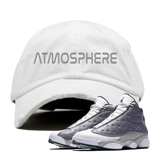 "Jordan 13 Atmosphere Grey ""Atmosphere"" White Distressed Dad Hat"