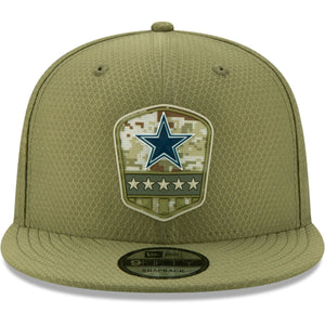 front of Cowboys Salute To Service Snapback | Dallas Cowboys 2019  On Field 9Fifty Snapback Hat