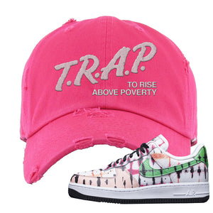 Air Force 1 Low Multi-Colored Tie-Dye Distressed Dad Hat | Pink, Trap To Rise Above Poverty