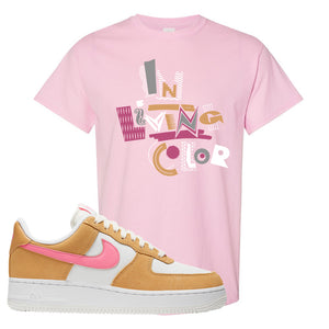 Nike Air Force 1 Pink Orange T-Shirt | In Living Color, Light Pink