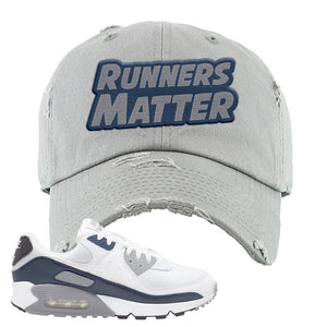 Air Max 90 White / Particle Grey / Obsidian Distressed Dad Hat | Light Gray, Runners Matter