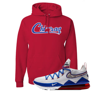 LeBron 17 Low Tune Squad Sneaker True Red Pullover Hoodie | Hoodie to match Nike LeBron 17 Low Tune Squad Shoes | Chiraq