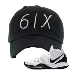 Kyrie 6 Oreo Distressed Dad Hat | Black, 6ix