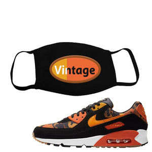 Air Max 90 Orange Camo Face Mask | Vintage Oval, Black