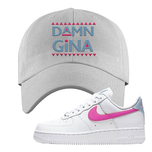 Air Force 1 Low Fire Pink Dad Hat | Light Gray, Damn Gina