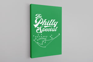 Philly Special Canvas | Philly Special Play Diagram Kelly Green Wall Canvas the front of this canvas has the philly special diagram