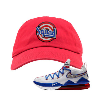 LeBron 17 Low Tune Squad Sneaker Red Dad Hat | Hat to match Nike LeBron 17 Low Tune Squad Shoes | Squad
