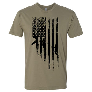 Standard Issue Gunned American Flag Military Green Grunt Life T-Shirt