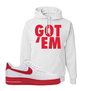 Air Force 1 Low Red Bottoms Hoodie | White, Got Em
