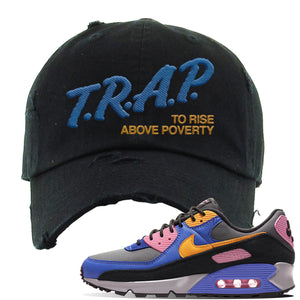 Air Force 1 Low Daisy Distressed Dad Hat | Black, Trap To Rise Above Poverty