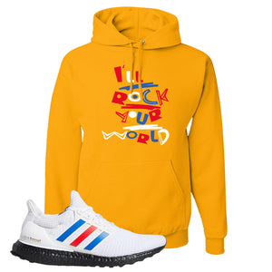 Ultra Boost White Red Blue Hoodie | Gold, I'll Rock Your World