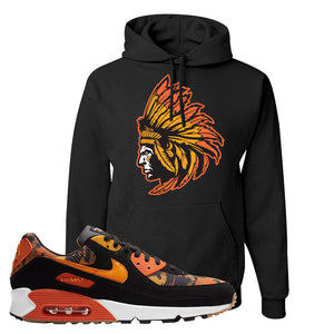 Air Max 90 Orange Camo Hoodie | Indian Chief, Black