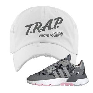 WMNS Nite Jogger True Pink Camo Distressed Dad Hat | White, Trap to Rise Above Poverty