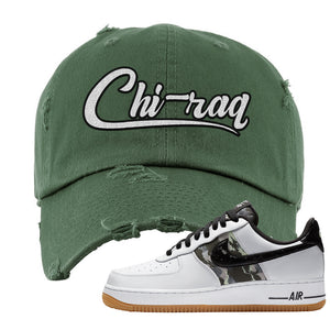 Air Force 1 Low Camo Distressed Dad Hat | Chiraq, Olive