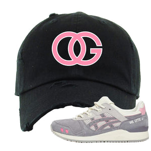 END x Asics Gel-Lyte III Grey And Pink Distressed Dad Hat | OG, Black