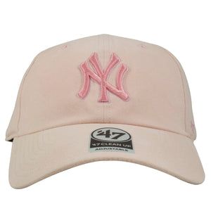 Embroidered on the front of the ink New York Yankees women's ball cap is a pink New York Yankees logo