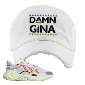 Ozweego Chaos Distressed Dad Hat | White, Damn Gina