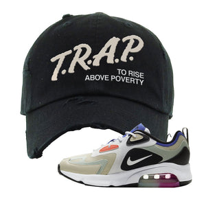 Air Max 200 WMNS Fossil Sneaker Black Distressed Dad Hat | Hat to match Nike Air Max 200 WMNS Fossil Shoes | Trap To Rise Above Poverty