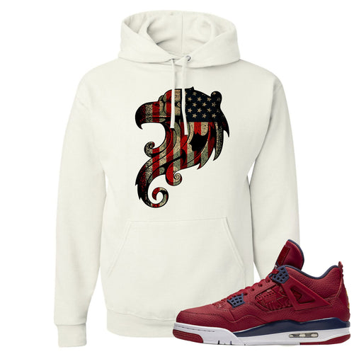 Jordan 4 FIBA Stars and Stripes Eagles White Sneaker Matching Pullover Hoodie