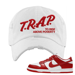 SB Dunk Low St. Johns Distressed Dad Hat | Trap To Rise Above Poverty, White