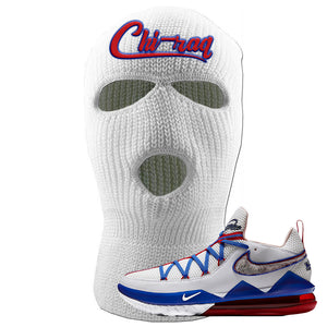 LeBron 17 Low Tune Squad Sneaker White Ski Mask | Winter Mask to match Nike LeBron 17 Low Tune Squad Shoes | Chiraq