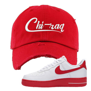 Air Force 1 Low Red Bottoms Distressed Dad Hat | Red, Chiraq