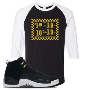 Taxi Fare Black/White Baseball Tee To Match Jordan 12 Reverse Taxi Sneakers