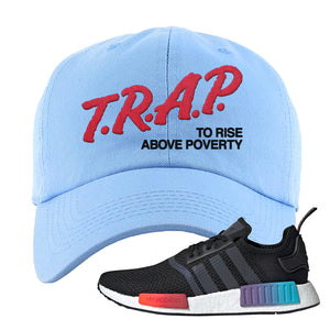 NMD R1 Gradient Dad Hat | Light Blue, Trap To Rise Above Poverty