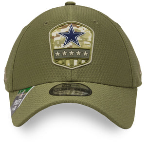 the Dallas Cowboys 2019 Salute To Service Flexfit Cap | Military Inspired 39Thirty Olive Green Flexfit Cowboys Hat has a rubber American military shield logo on the front
