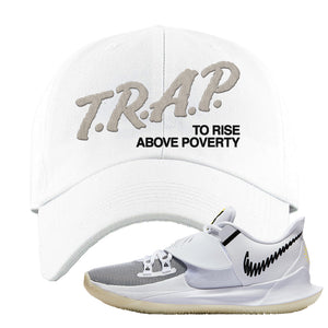 Kyrie Low 3 Dad Hat | White, Trap To Rise Above Poverty