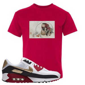 Air Max 90 Chinese New Year Kid's T Shirt | Deep Red, Japanese Rat Party