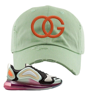 Air Max 720 WMNS Black Fossil Sneaker Sage Green Distressed Dad Hat | Hat to match Nike Air Max 720 WMNS Black Fossil Shoes | OG
