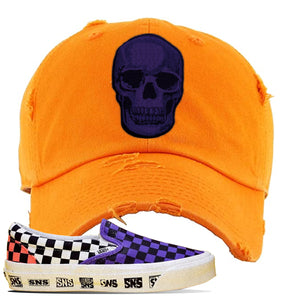 Vans Slip On Venice Beach Pack Distressed Dad Hat | Orange, Skull