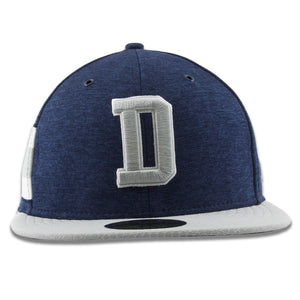 Embroidered on the front of the Dallas Cowboys 59Fifty Draft Fitted Cap is the Dallas D logo embroidered in gray