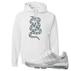 Air Max 95 Ultra White Glacier Blue Hoodie | Coiled Snake, White