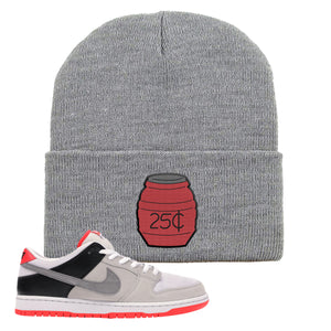 Nike SB Dunk Low Infrared Orange Label Quarter Water Light Gray Beanie To Match Sneakers