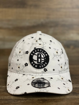 Front of Kids Brooklyn nets floral hat | | White nets floral hat  | YOUTH 9TWENTY 920DAD HAT