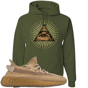 Yeezy Boost 350 V2 Earth Sneaker Hoodie To Match | All Seeing Eye, Military Green