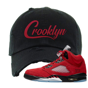 Air Jordan 5 Raging Bull Distressed Dad Hat | Crooklyn, Black