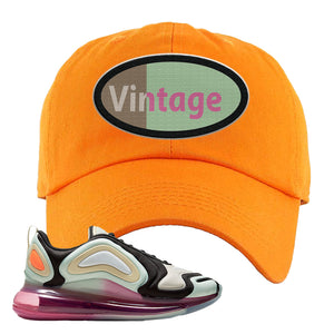 Air Max 720 WMNS Black Fossil Sneaker Orange Dad Hat | Hat to match Nike Air Max 720 WMNS Black Fossil Shoes | Vintage Oval