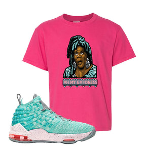Lebron 17 South Beach Kids T-Shirt | Oh My Goodness, Heliconia