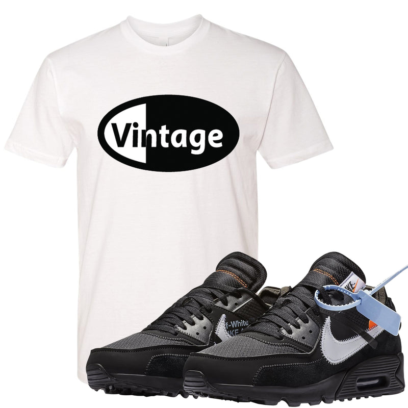Shop the Air Max 90 OFF-WHITE Black sneaker matching t-shirt to match the Air Max 90s OFF-White sneakers and complete your sneaker matching outfit