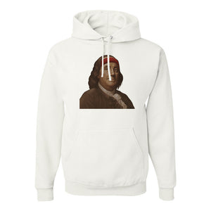 Ben Franklin Sweatband Pullover Hoodie | Ben Franklin Sweat Band White Pull Over Hoodie the front of this hoodie has ben franklin with a sweatband on