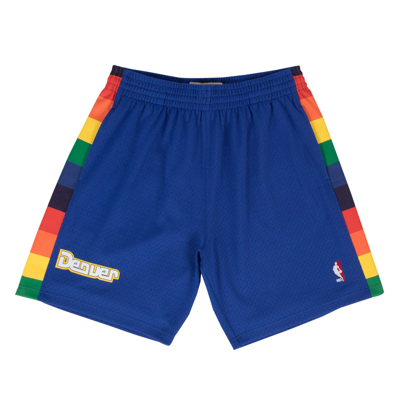 The denver nuggets swingman shorts are blue with rainbow accents and the denver wordmark on the front