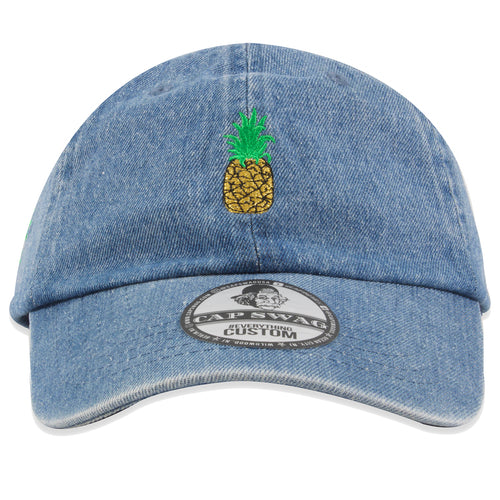 Embroidered on the front of the denim dad hat is the Pineapple logo