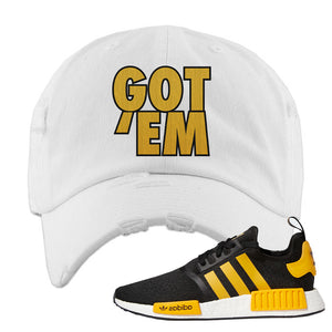 NMD R1 Active Gold Distressed Dad Hat | White, Got Em