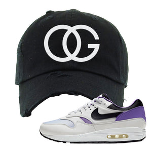 Air Max 1 DNA Series Sneaker Black Distressed Dad Hat | Hat to match Nike Air Max 1 DNA Series Shoes | OG