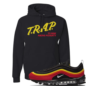Air Max 97 Black//Chile Red/Magma Orange/White Sneaker Black Pullover Hoodie | Hoodie to match Nike Air Max 97 Black//Chile Red/Magma Orange/White Shoes | Trap to Rise Above Poverty