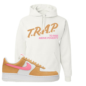 Nike Air Force 1 Pink Orange Hoodie | Trap To Rise Above Poverty, White