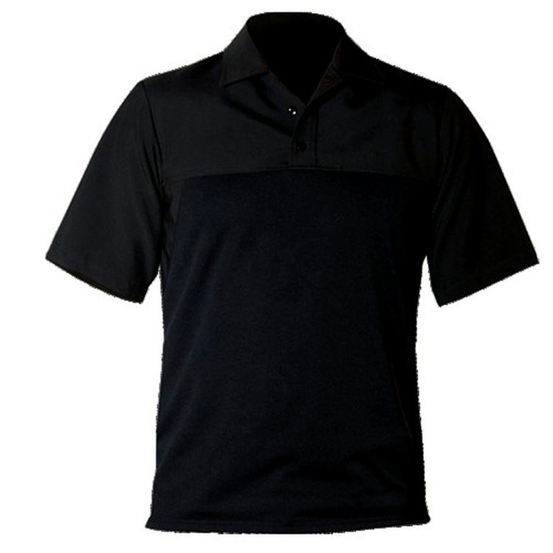 the Police Public Safety | Women's Short Sleeve Armorskin Wool Polo Shirt | Black Wool Blend Policewoman Uniform Base Shirt for Women has a stand up collar and polo placket
